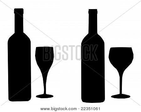 Illustration Silhouette Two Bottles Of Wine And Two Glasses