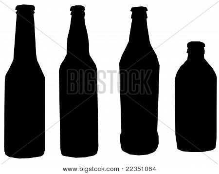 Illustration Silhouette Four Beers