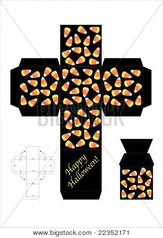 A template for a halloween candy gift box. EPS10 vector format.