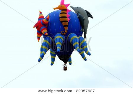 Animal hot air balloon in flight