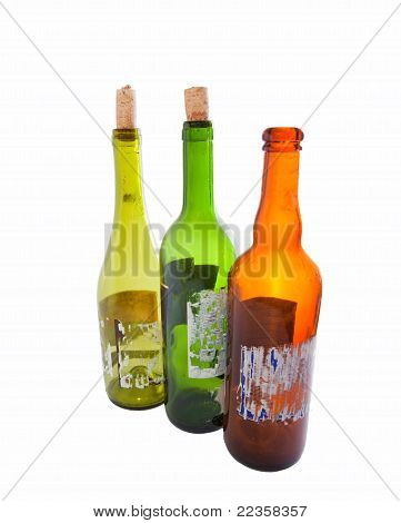 Three Empty Wine Bottles Isolated On White