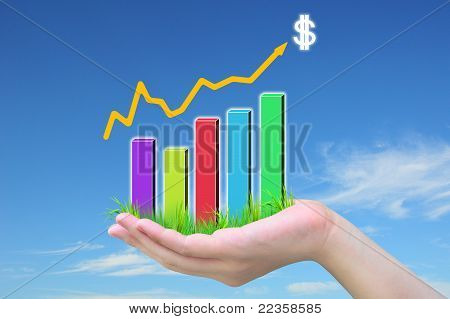 Woman hand and business graph