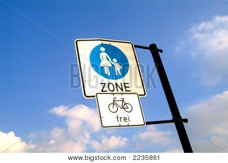 Pedestrian Zone And Bicycle