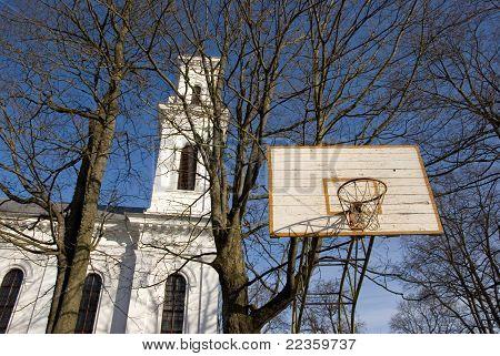 Basketball Yard Near Church.