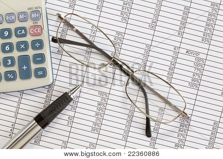 Glasses and Calculator