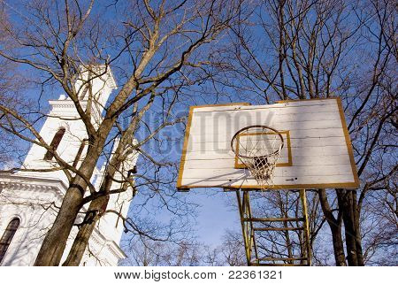 Basketball Yard Near Church.
