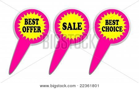 Best offer, choice and sale icons