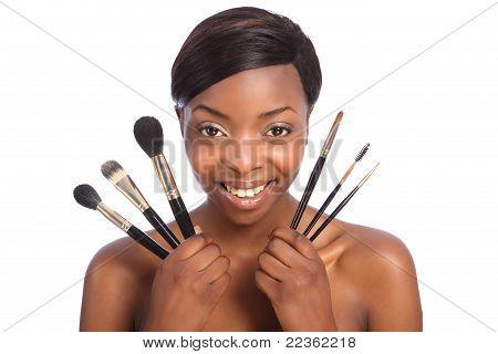 Beautiful African American Make Up Artist Girl