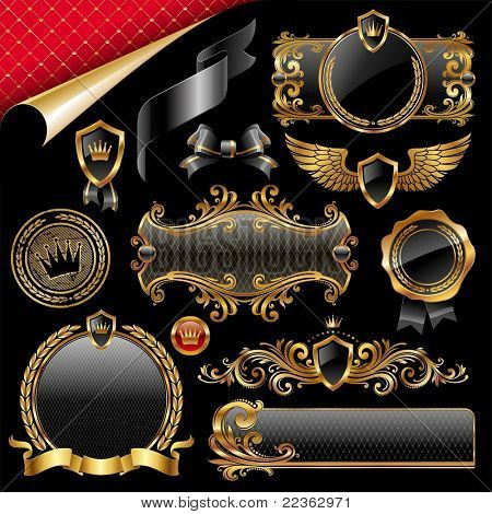 Set of royal gold and black design elements. (Vector version of this work is available in my portfolio: # 50351659)