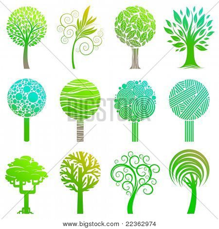 Set of trees emblem. (Vector version of this work is available in my portfolio: # 52742485)