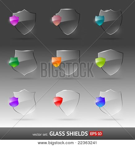 Vector set of glass heraldic shields