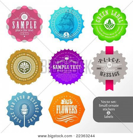 Vector set of small labels and stickers