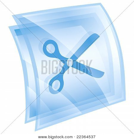 Scissors Icon Blue, Isolated On White Background.