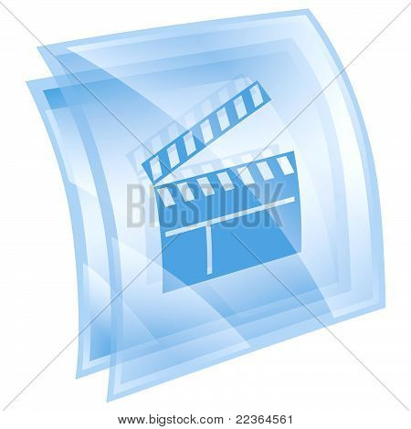 Primovie Clapper Board Icon Blue, Isolated On White Background.