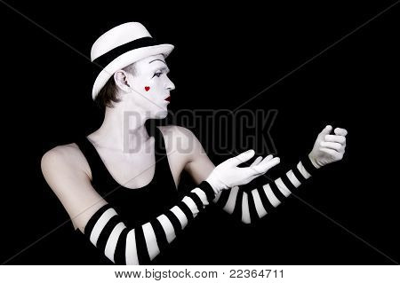 Dancing Mime In White Hat