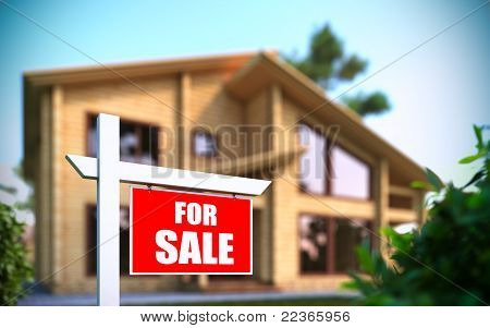 """home For Sale"" Sign In Front Of New House"