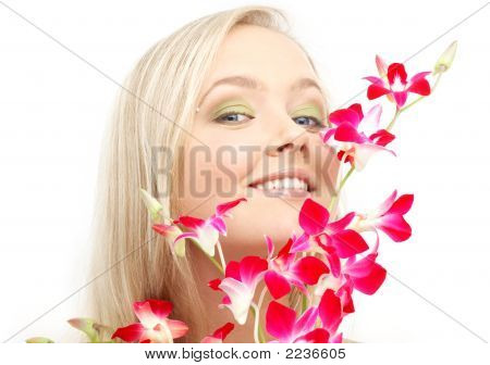 Lovely Blond With Orchid