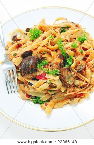 Aubergine With Pasta Vertical