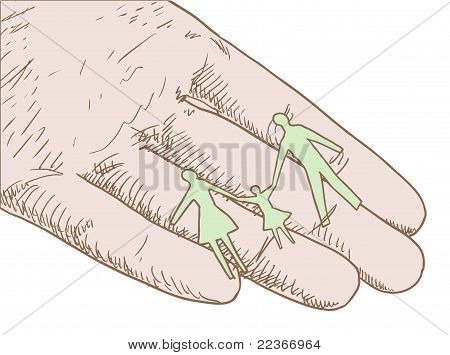 Human Hand Holding Family Silhouette Vector