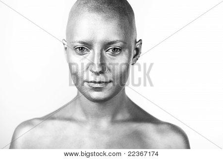 Bald woman. Portrait.