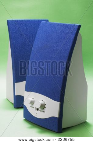Blue And White Speakers