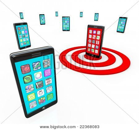 Many modern smart phones with touch screens showing a menu of application app icons and one phone is targeted with a red bulls-eye target