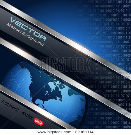 Business background blue metallic with earth globe, vector