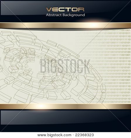 Technology background with wireframe disk, vector.