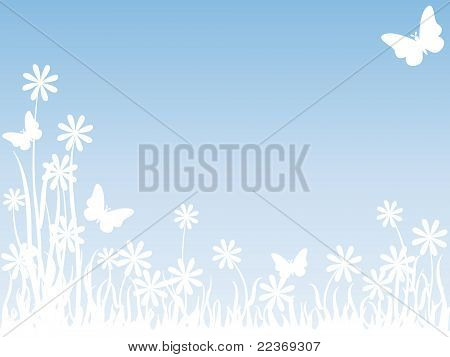 Grass Flowers And Butterflies