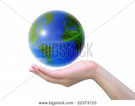mundo y las mujeres a mano sobre fondo blanco