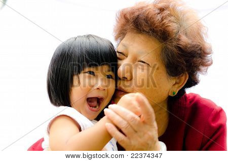 Asian Girl Kissed By Grandmon 70 Years Old
