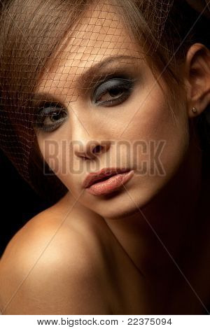 Portrait of pretty young woman. Vintage Make-up