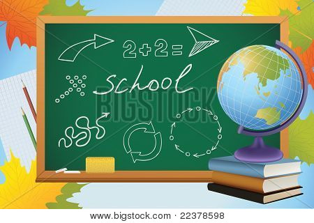School Autumn Background With Symbols On Blackboard, Globe And Books, Vector