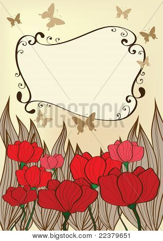 Background With Poppies And Butterflies