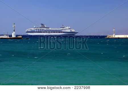 Cruise Ship Near Mykonos Island, Greece