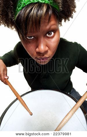 Angry African Girl Playing Drums