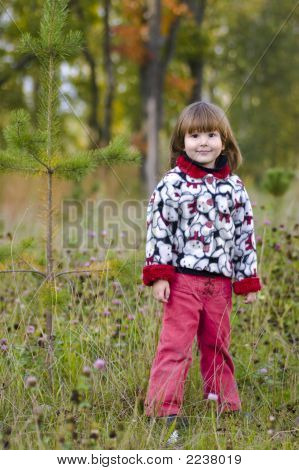 Kid Standing In The Fall Forest
