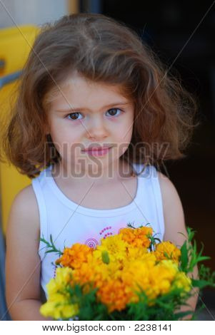 Beautiful Young Kid Girl With Brown Eyes