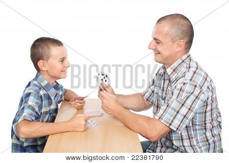 Father And Son Playing Cards