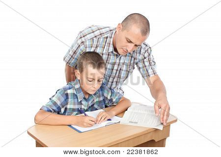 Father Verifying Son's Homework