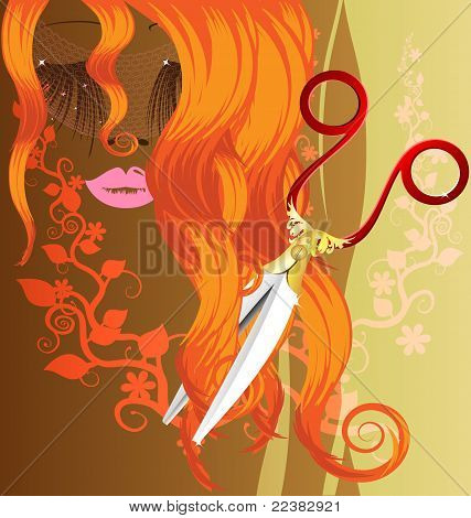 red hair and scissors