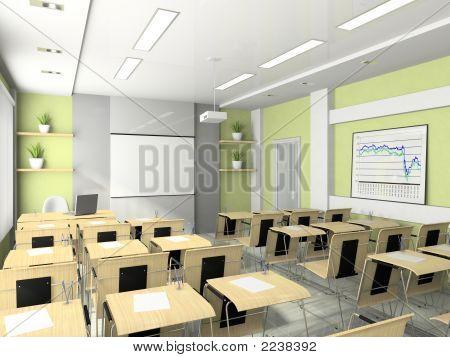 Interior da sala de palestras, seminários, estudos, treinamentos ou reuniões