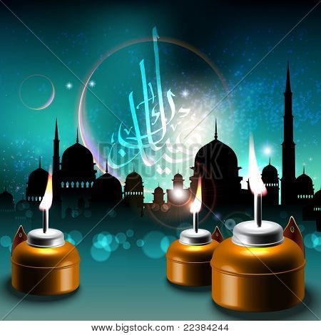 Vector Oil Lamps on Mosque Silhouettes Background