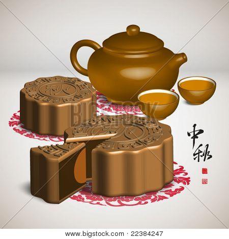 Vector Moon Cake and Tea Set of Mid Autumn Festival
