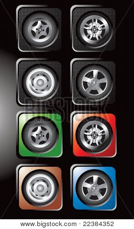 Tires with various rims on square web buttons