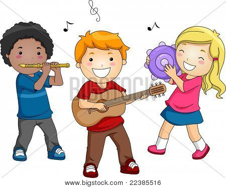 Illustration of Kids Playing Different Musical Instruments