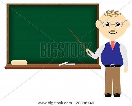 Teacher with blank board