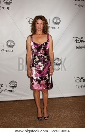 LOS ANGELES - AUG 7:  Nancy Travis arriving at the Disney / ABC Television Group 2011 Summer Press Tour Party at Beverly Hilton Hotel on August 7, 2011 in Beverly Hills, CA