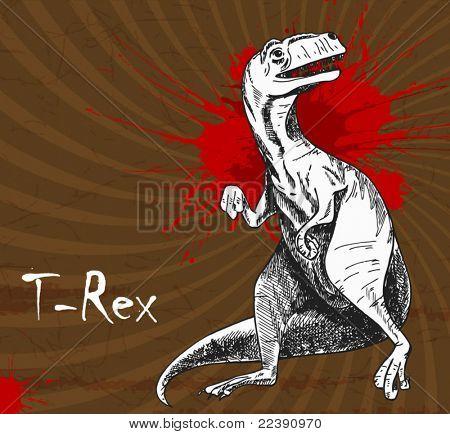 Tyrannosaurus hand-drawn illustration