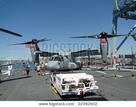 Civilians Inspect An  Mv-22 Osprey
